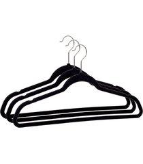 cabide de veludo preto para roupas multiwork 3 unidades - preto - dafiti