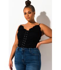 akira plus keep up with me ruched top