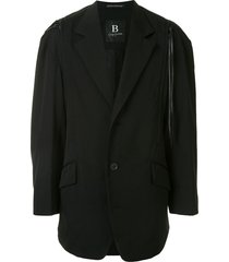 yohji yamamoto drop shoulder blazer with zip detail - black