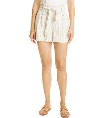 women's l'agence alex stripe paperbag linen blend shorts, size 4 - ivory