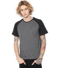 camiseta raglan com manga preta lisa di nuevo masculina - masculino