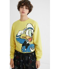 sweatshirt illustration frayed hem - yellow - xl