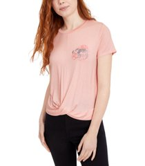 rebellious one juniors' graphic-print twist-front t-shirt
