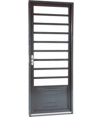 porta de aço de abrir belfort com almofada com divisão 1 folha abertura direita 217x87x6,5 - sasazaki - sasazaki