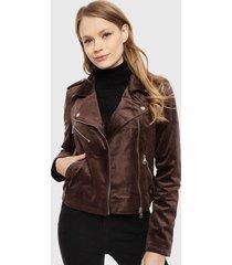 chaqueta vero moda marta marrón - calce ajustado