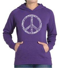 la pop art women's word art hooded sweatshirt -the word peace in 77 languages