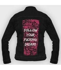 kurtka jeansowa follow your fucking dreams