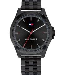 tommy hilfiger men's black stainless steel bracelet watch 42mm