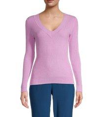 525 america women's ribbed v-neck sweater - bleach white - size s
