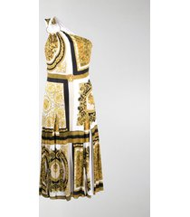 versace baroque-print one-shoulder dress