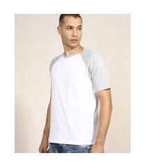 camiseta masculina básica raglan manga curta gola careca cinza mescla claro