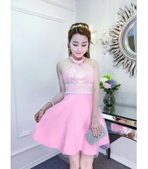 pf244 sexy sequined neck halter dress,stretchcable cotton,, free size pink