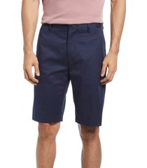 men's nordstrom non-iron stretch cotton shorts, size 36 - blue