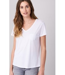 basic dames t-shirt met v-hals en borstzak