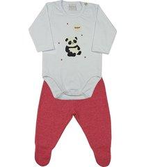 pijama ano zero bebê meia malha e poá híbrido panda bonjour branco
