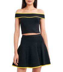 bcbgmaxazria off-the-shoulder cropped sweater