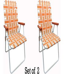 outdoor spectator classic reinforced steel powder coated webbed folding lawn/camp chair, set of 2