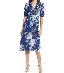 women's vince camuto floral puff sleeve pebble crepe midi dress, size 10 - blue