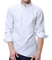 camicia con colletto cinese tinta unita sottile camicia manica lunga adatta per uomo