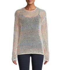 design 365 women's long-sleeve crocheted top - size m