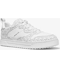 mk sneaker baxter in pelle con logo - bianco/nero (bianco) - michael kors
