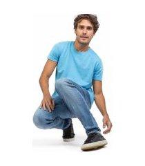 t-shirt básica comfort mescla azul turquesa az tqs/p