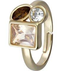 anello con pietre sui toni dell'oro in metallo dorato per donna