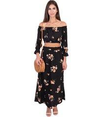 blusa campesina con estampado de flores flashy