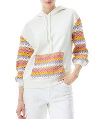 women's alice + olivia nisa crochet detail hooded sweatshirt, size medium - white