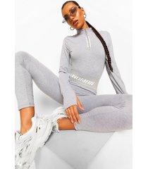 woman legging met tekst op elastische band, grey marl