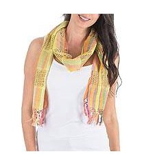 cotton scarf, 'gossamer yellow' (guatemala)
