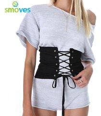 smoves vintage black faux suede lace up corset bandage womens waist belt