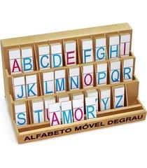 alfabeto móvel degrau - mdf - 130 peças - pvc enc - carlu