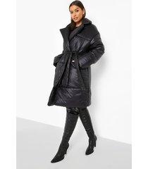 gewatteerde donzen jas met ceintuur, black