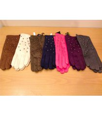 new ladies fabric gloves with faux fur lining and round studs, choice of color