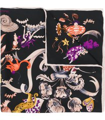 salvatore ferragamo aquatic print scarf - black