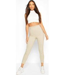 stretch woven frill top trouser, stone