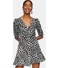 black and white print ruched front mini dress - monochrome