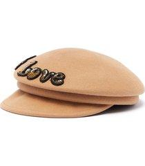 'label love' embellished wool sailor hat
