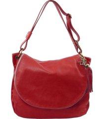 tuscany leather tl141110 tl bag - borsa morbida a tracolla con nappa rosso