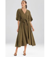 natori sanded twill dress, women's, green, size l natori