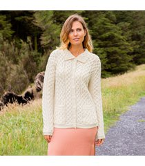 cream shandon aran cardigan - small