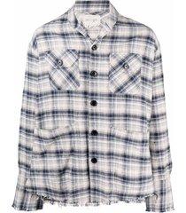greg lauren shawl collar check-pattern shirt - white