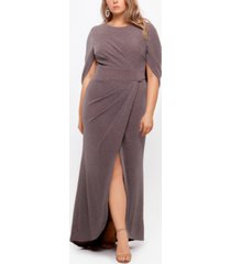betsy & adam plus size drape-back shimmer gown