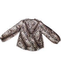 inc cheetah-print surplice top, created for macy's