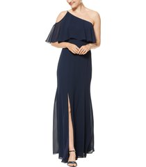 women's #levkoff one-shoulder chiffon a-line gown, size 0 - blue
