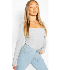 ribbed square neck top, grey marl