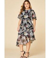 yoins plus size black tropical print ruffle trim dress