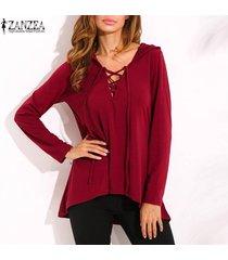 zanzea nuevo de las mujeres con cordones v profundo con capucha tops ocasional de la camisa blusa suelta más el tamaño -rojo