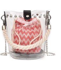 rivetto di tela trasparente da donna con tracolla in tela trasparente borsa
